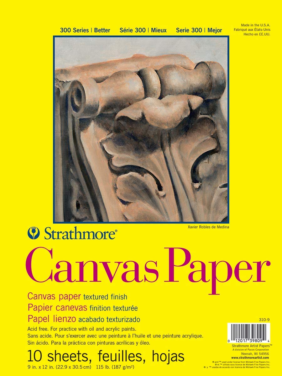 """Strathmore (310-9) 300 Series Canvas Pad, 9""""x12"""" Glue Bound, 10 Sheets"""