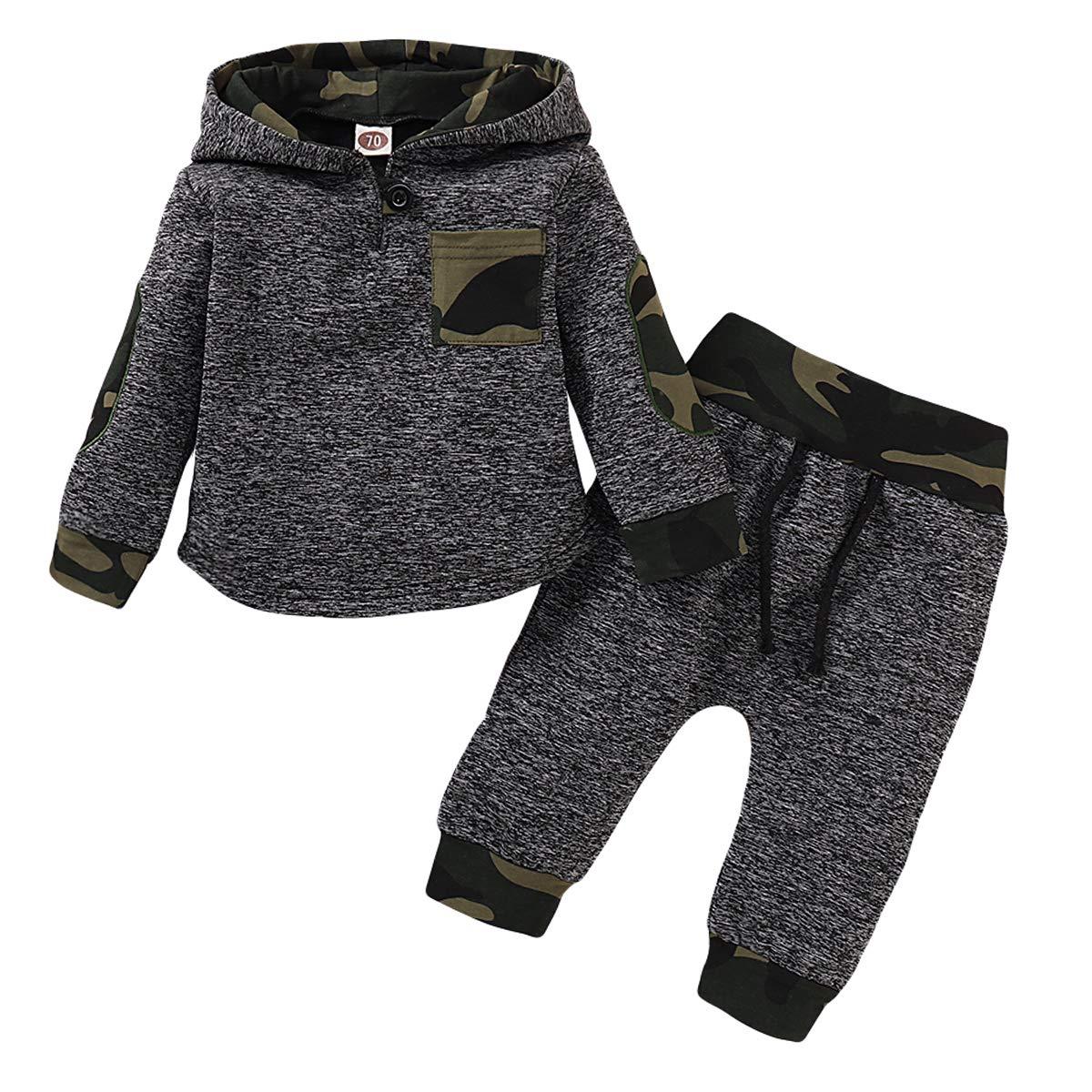 puseky Conjunto de sudadera con capucha para beb/és beb/és y ni/ños peque/ños sudadera con capucha de camuflaje pantalones de invierno ropa de oto/ño