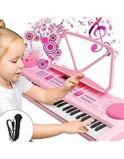 Kids Piano Keyboard, 61 Keys Multi-Function Electronic Kids Pink Piano Keyboard Educational Toy, LED Lighting Teaching Keyboard, Rechargeable Portable Musical Electronic Karaoke for Kids Girls - Pink