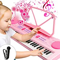 Barn piano tangentbord, 61 tangenter multifunktion elektronisk barn rosa piano tangentbord pedagogisk leksak, LED…
