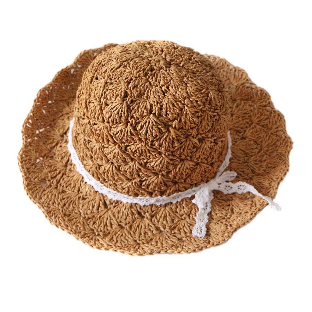 Yamally Sun Hat for Baby Girls,Children Summer Holidays Bow Travel Bohemian Hats Beach Sun Hat Basin Caps Brown