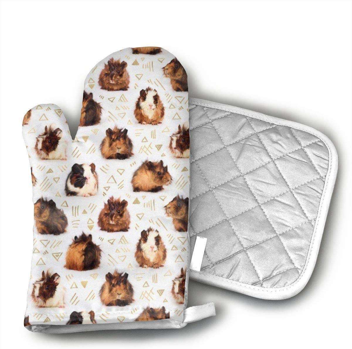 HGUIDHG Guinea Pigs Oven Mitts+Insulated Square Mat,Heat Resistant Kitchen Gloves Soft Insulated Deep Pockets, Non-Slip Handles