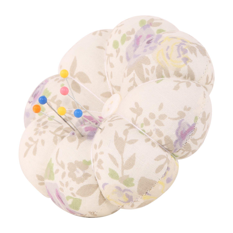 neoviva Stoff beschichtet Nadelkissen mit Handgelenk Band für Naht, Stil Kürbis Floral Cloud Cream