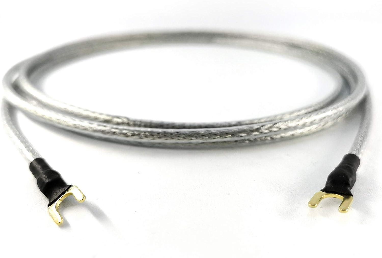 cavo di massaggio trasparente argento 10,0 m argento//trasparente. guaina placcata oro Conduttore di messa a terra 1 x 0,50 mm2 per giradischi Phonoger e mixer con attacco di massa con forcella