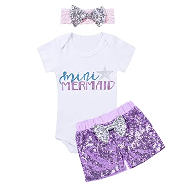 d36aa7c06 iiniim Baby Girls Mermaid Outfit Jumpsuit Sunsuit Set