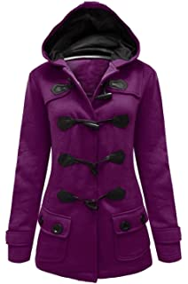 501225bf5af1 Womens Ladies Hooded Duffle Coat Jacket with Hood & Toggles Plus & Standard  Size