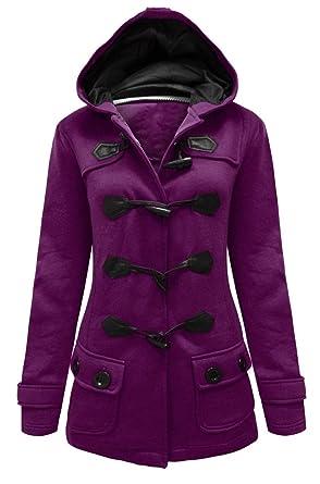 0133e16c4d90 Womens Ladies Hooded Duffle Coat Jacket with Hood & Toggles Plus & Standard  Size: Amazon.co.uk: Clothing