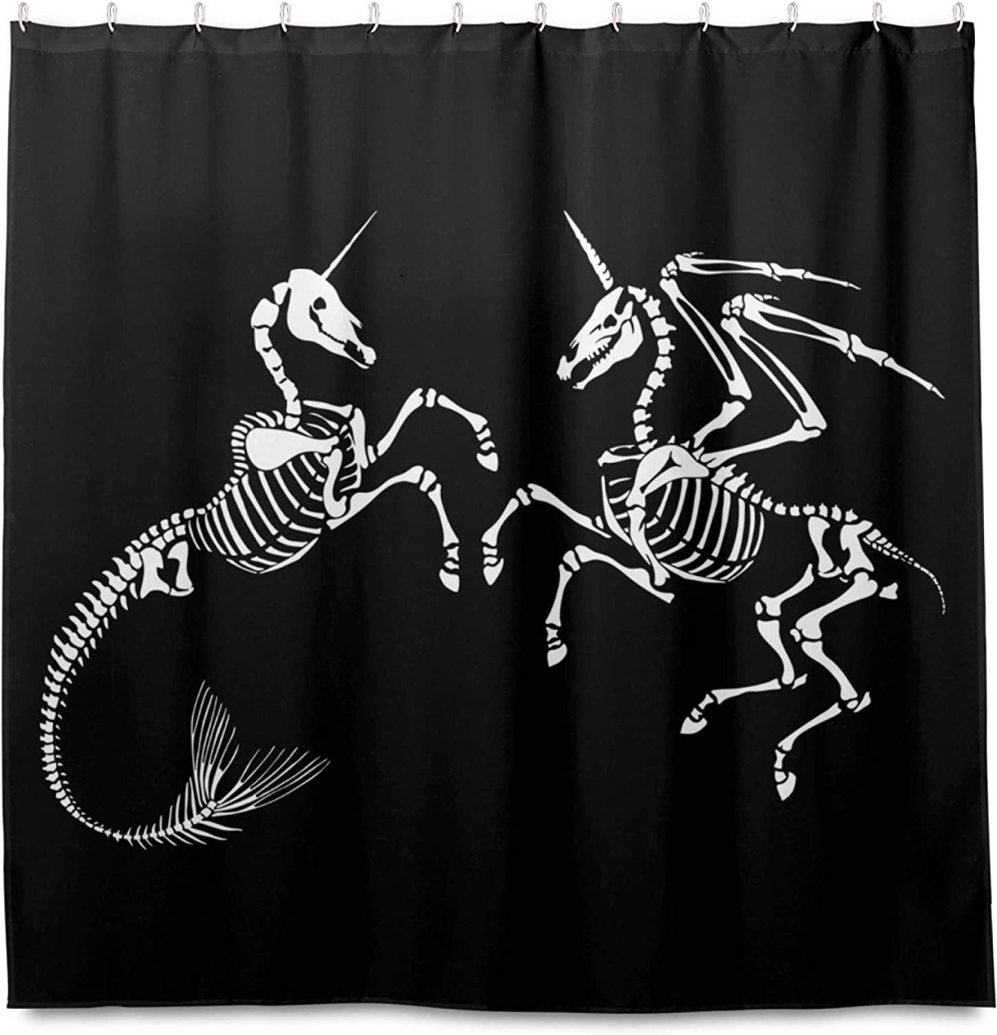Blue Viper Skeleton Unicorn with Mermaid Home Decorations Shower Curtain 72 x 72 inch Waterproof Polyester for Bathroom Shower Curtain Set with Hooks