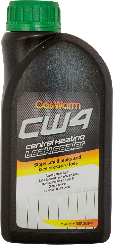 CosWarm CW4 Sellador Fugas Agua para Radiador, Caldera & Sistema De Calefacción Central - Sellador De Fugas Calefaccion - Trata 18 Radiadores