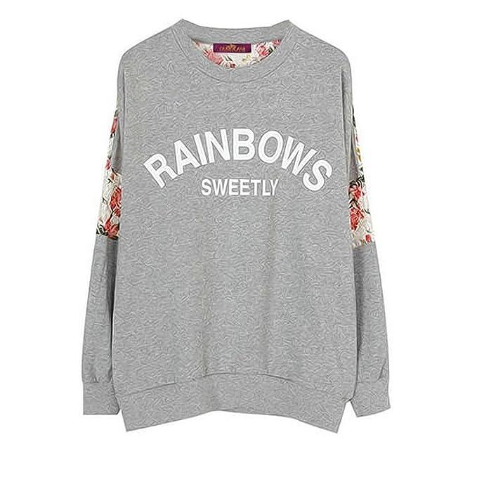 Ninimour Camiseta Empalme con Lace de Mangas largas Girl Floral T-Shirt Crewneck Blouse Long