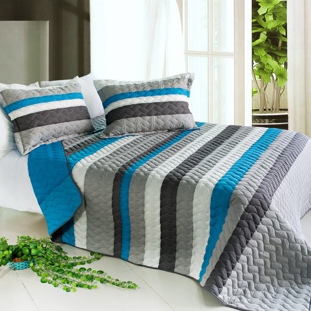 [Health Life] 3PC Vermicelli-Quilted Striped Quilt Set (Full/Queen Size)