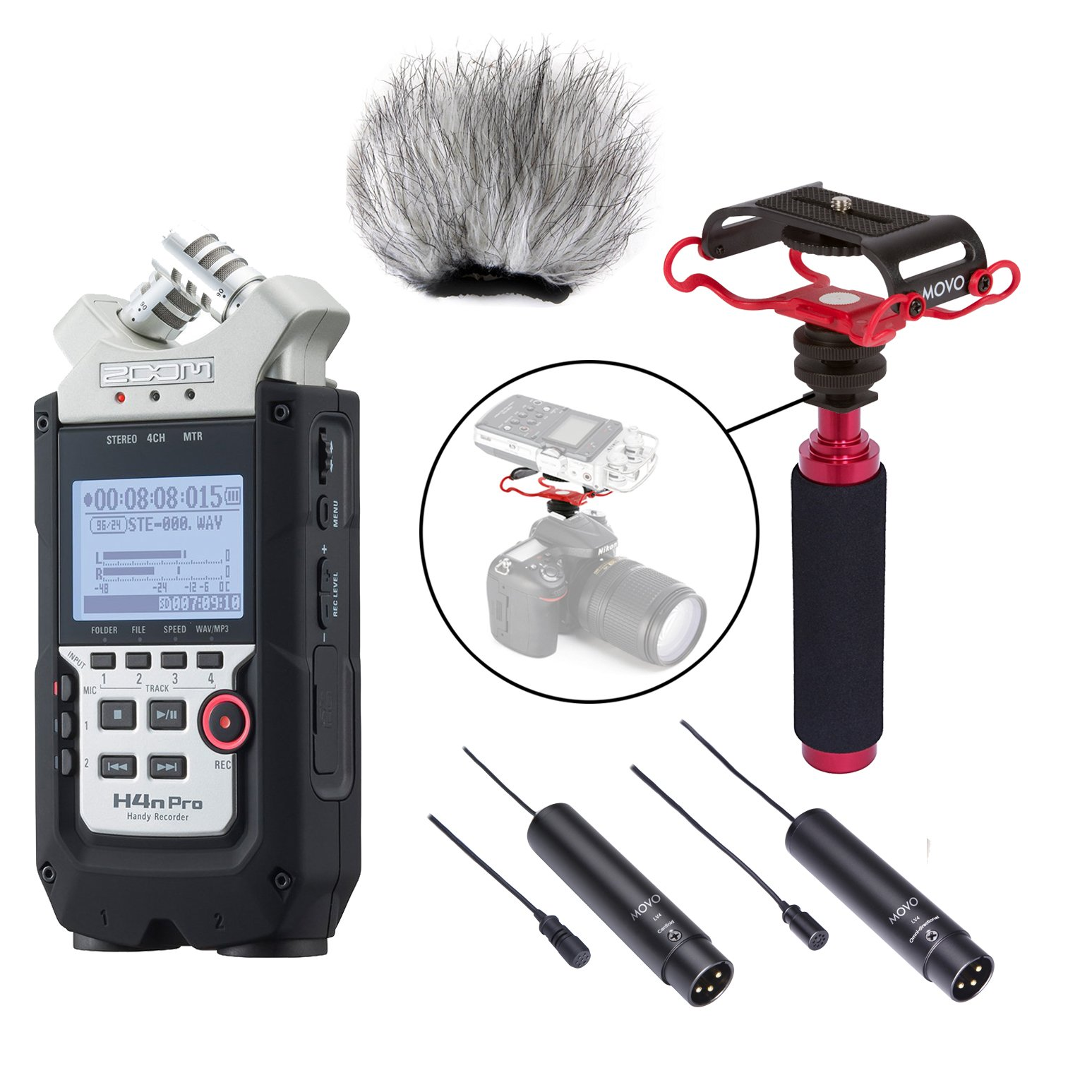 Zoom H4n PRO 4-Channel Handy Recorder LOADED Bundle with Omnidirectional and Cardioid XLR Lavalier Microphones, Deadcat Windscreen, Shockmount, Camera Mount and Mic Grip