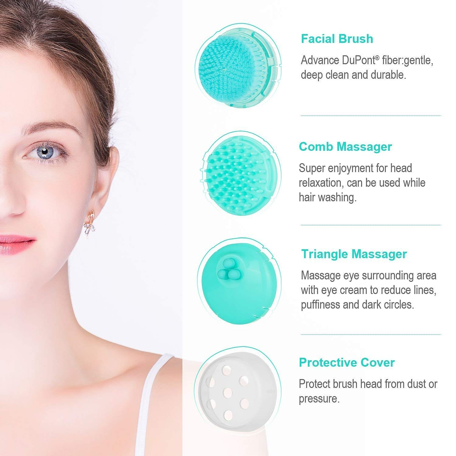 Sonic Facial Cleansing Brush with PHOTON Tech, Waterproof Vibrating Face Brush Set with 2 Speeds for Gentle& Deep Cleansing, 3-in-1 Electric Face&Head Massager, Beautifive
