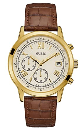 Guess Womens U1000G3 Gold Leather Japanese Quartz Fashion Watch