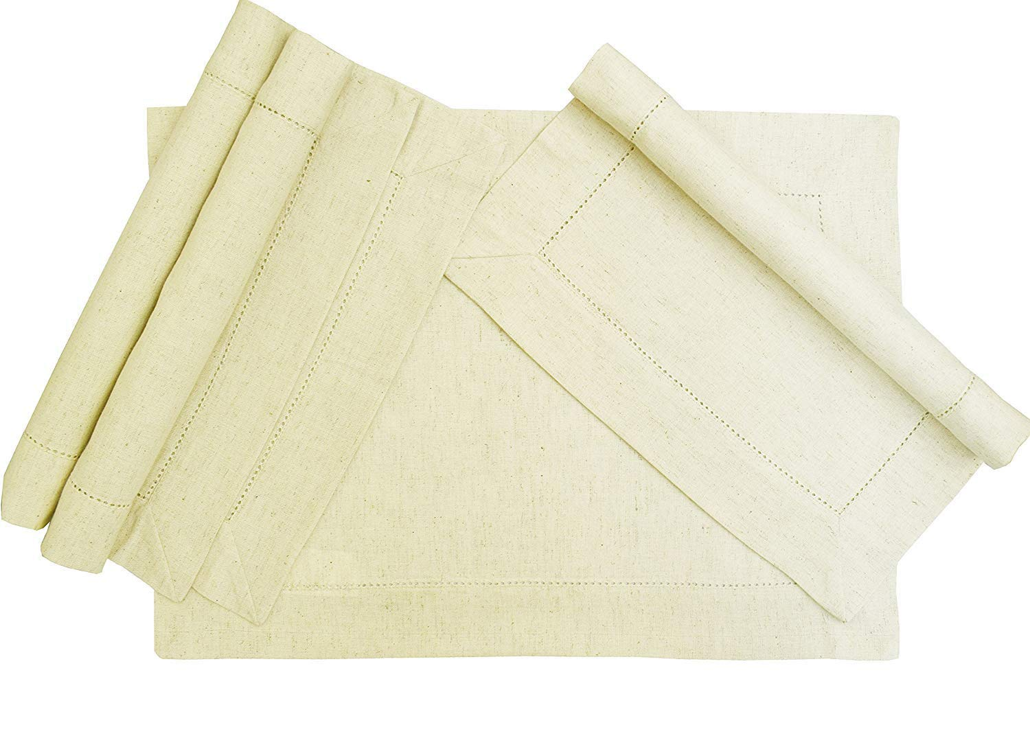 Light & Pro 4Pack Flax by Flax -30% Linen,70% cotton -Placemat for Dining Table, Kitchen Table, Perfect for Fall,Dinner Parties, BBQs and Everyday Use -14x19 inch Natural