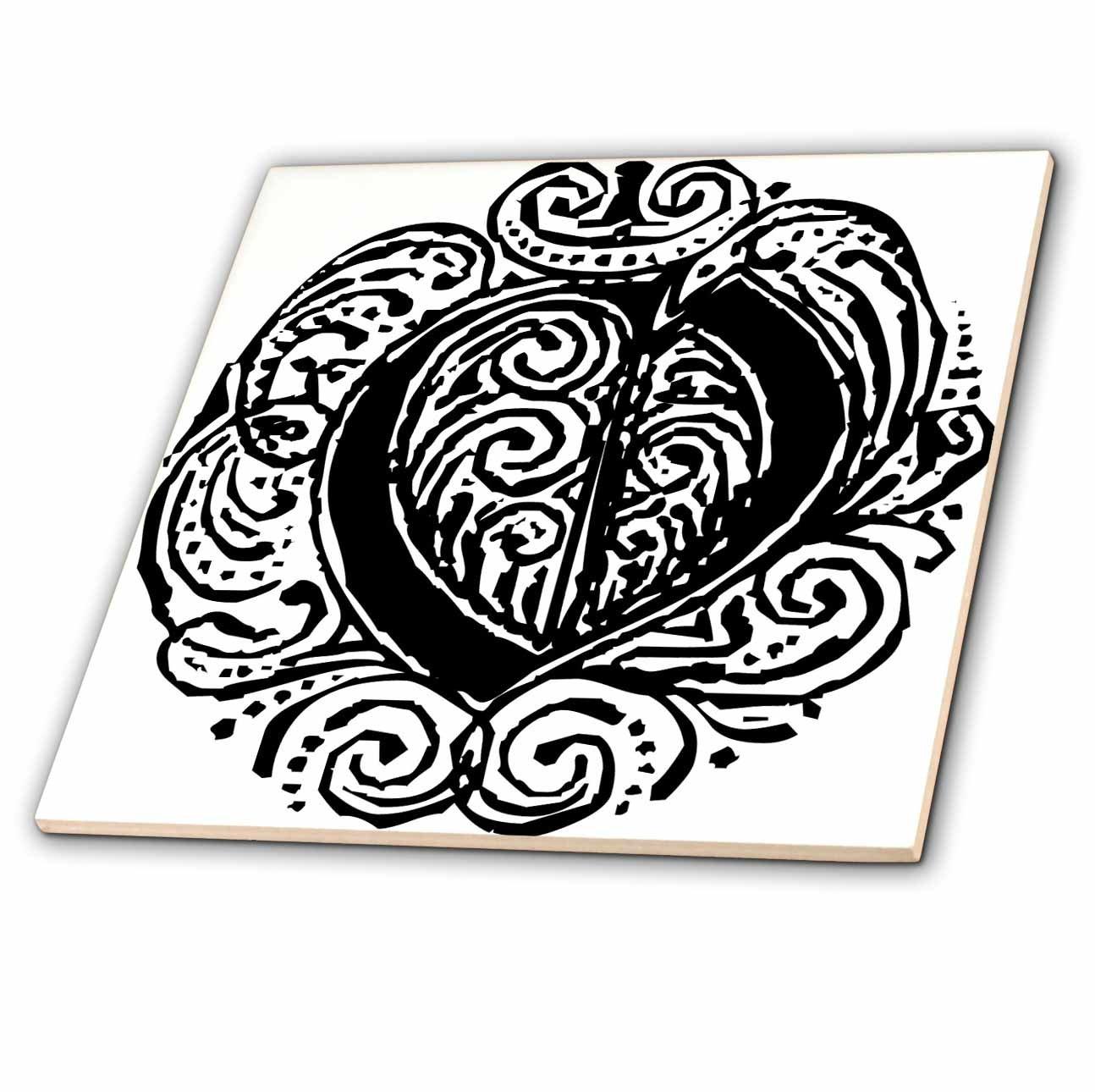 Fancy Letter O 3dRose Sandy Mertens Monograms 12 Inch Ceramic Tile ct/_14223/_4