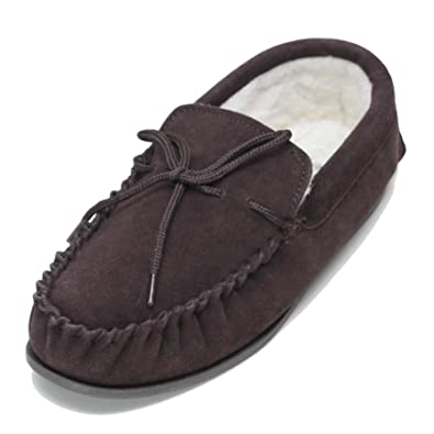 157d82051511 Deluxe Mens Lambswool Moccasin Slippers with Hard Sole - Suede Upper ...