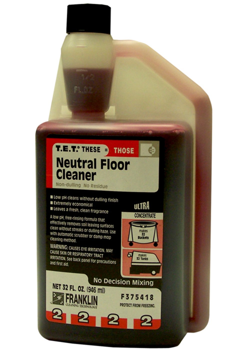 Franklin Cleaning Technology F375418 T.E.T. #2 Neutral Floor Cleaner, 32 Ounce (Pack of 3)