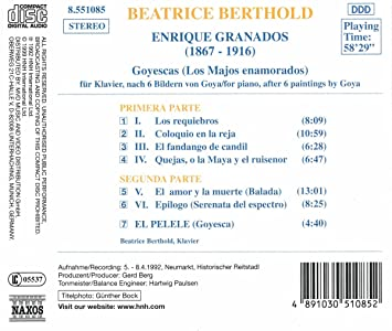 VARIOUS ARTISTS - Granados Goyescas For Piano After Six Paintings Of Goya / El Pelele. (Beatrice Berthold Pia - Amazon.com Music