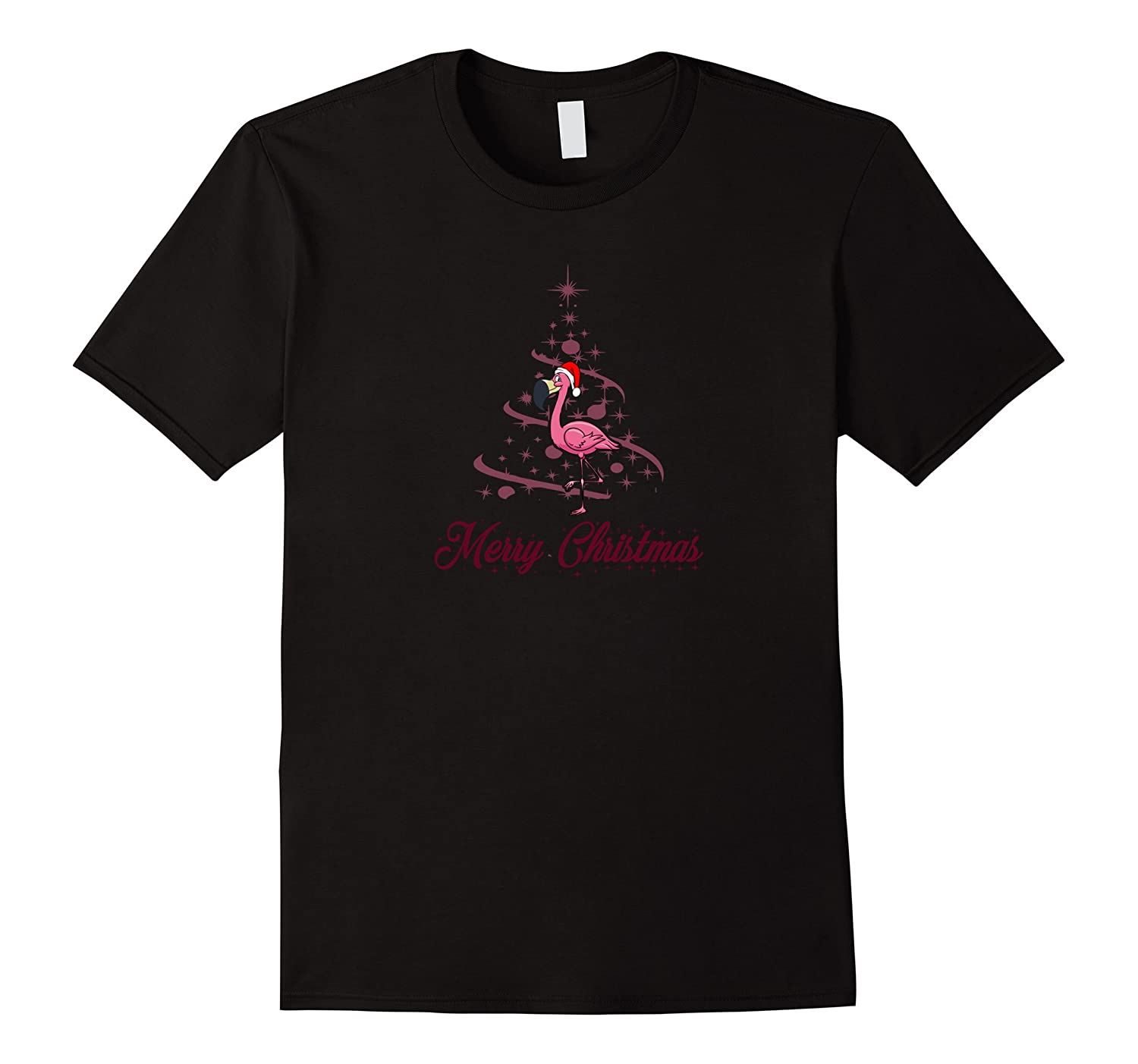 227d08c83d66 Pink Flamingo In A Santa Hat By A Palm Tree T-Shirt-Art – Artvinatee