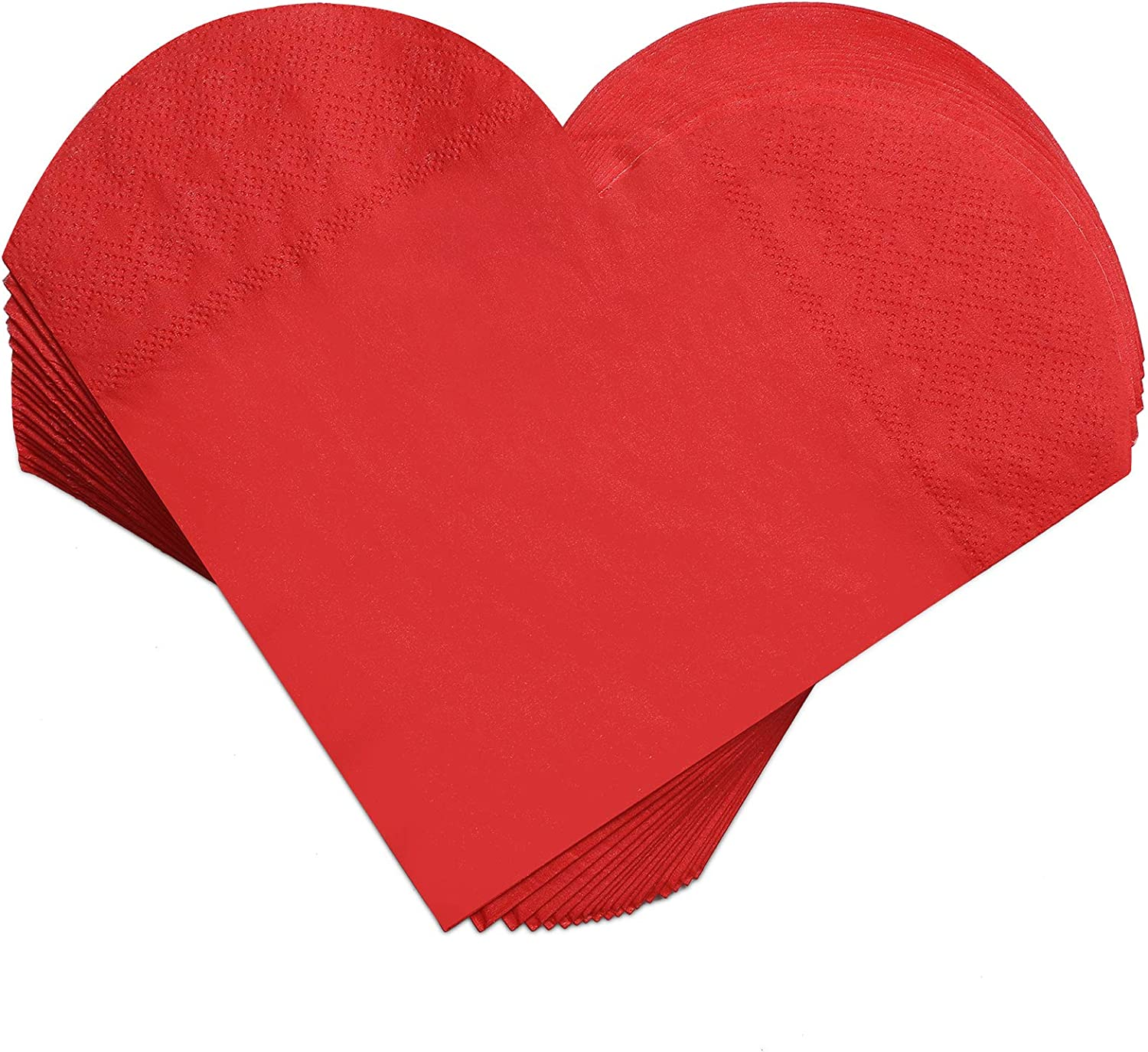 100 Pieces Heart Shaped Paper Napkins Valentine's Day Napkins Heart Beverage Tissue Napkins for Valentine's Day Wedding Party Supplies, 6.5 x 6.5 Inches, Red