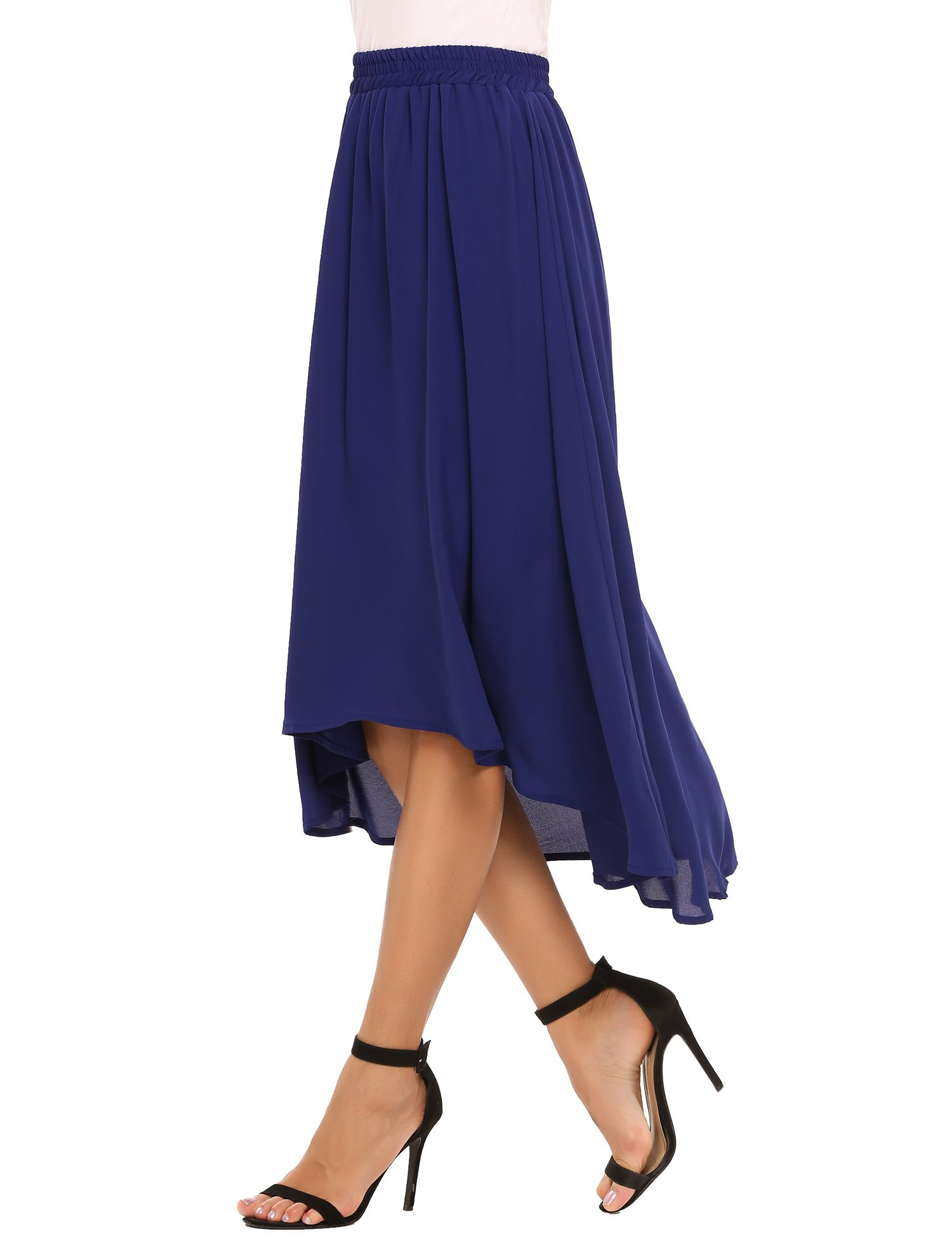 Zeagoo Elastic Waist Summer Chiffon Skirt Flowy High Low Skirt For Women, Blue, L