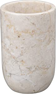 Creative Home Natural Champagne Marble Bullet Collection Tumbler Toothbrush Holder Makeup Brush Organizer, 3