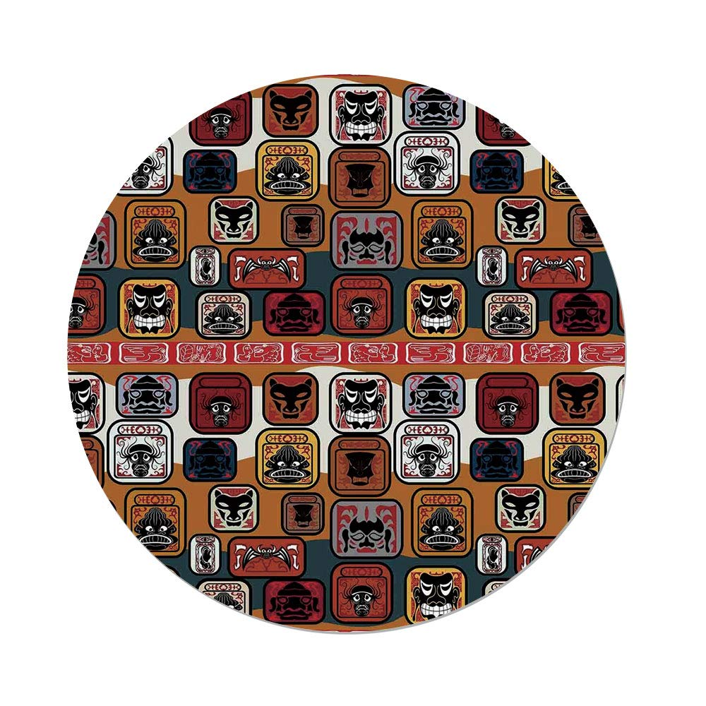 Polyester Round Tablecloth,Primitive,Native American Indian Maya Face Mask in Different Expressions Universal Totem,Multicolor,Dining Room Kitchen Picnic Table Cloth Cover,for Outdoor Indoor