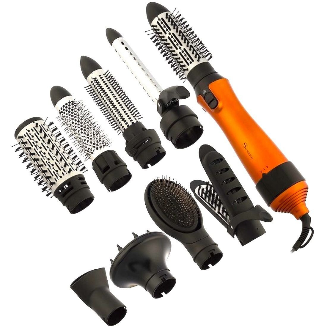 DOBO® Spazzola capelli aria calda con varie testine ed accessori hair styling 1000W - Kit completo hair styling
