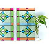 Privacy Window Film Self Adhesive No-Glue 3D Static Stained Glass Window Sitckers for Bathroom Office Kitchen Anti UV 3Ft X 6.5Ft.(90 x 200Cm)