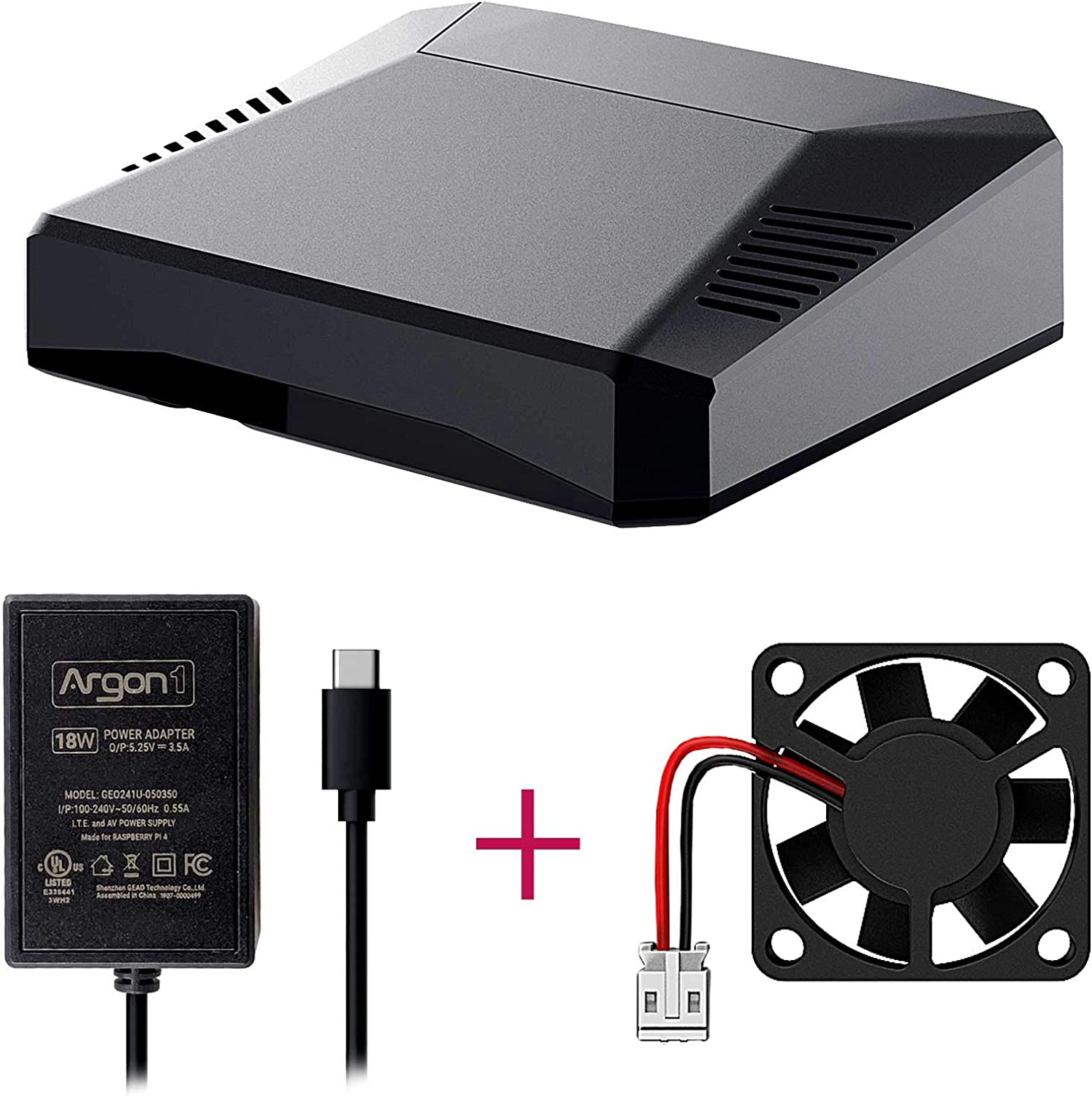 Argon One Raspberry Pi 4 Case with Cooling Fan | Includes 5.25V/3.5A Power Supply | Aluminum Heatsink | Power Button | Supports Retro Gaming, Movies, and Music | for Raspberry Pi 4 Model B