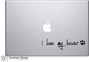 I Love My Boxer Dog Puppy Vinyl Car Sticker Symbol Silhouette Keypad Track Pad Decal Laptop Skin Ipad MacBook Window Truck Motorcycle