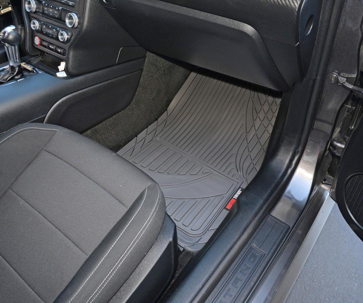 MT-794-GR Gray Motor Trend FlexTough Advanced Performance Mats 4pc HD Rubber Floor Mats for Car SUV Auto All Weather Plus