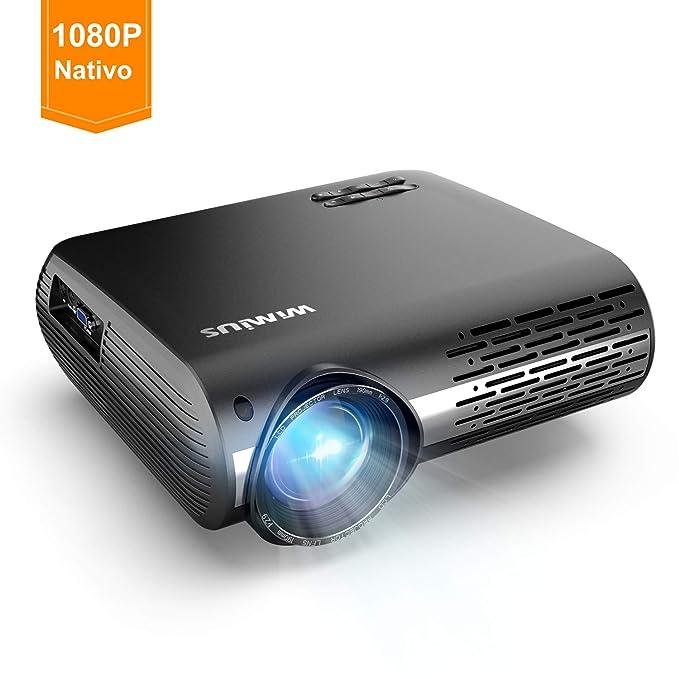 Proyector, WiMiUS 5000 Lúmenes Proyector Full HD 1920x1080P Nativo Proyector Video Compatible 4K Pantalla 300
