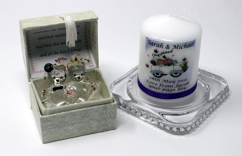 Crystal Glass Wedding Teddy Bears Congratulation On Your Wedding Box Poem Gift