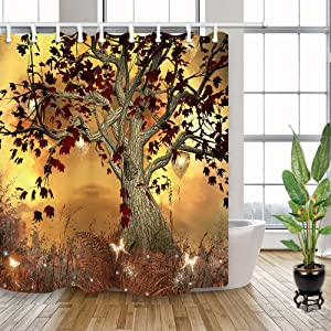 NYMB Magic Fairy Forest Shower Curtain with Hooks, 3D Digital Printing Nature Fantasy Life Tree with Butterflies Bath Curtain, Fabric Wonderland Wooden Life of Tree Bathroom Set Decor, 69X70in