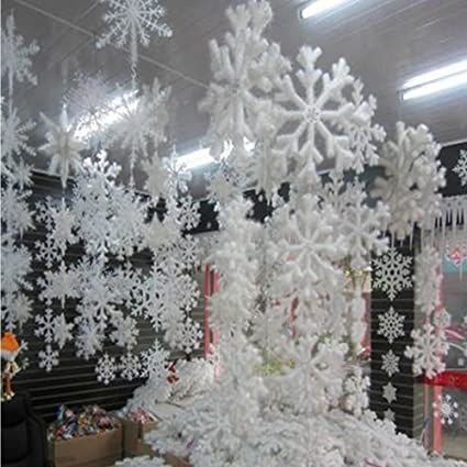 ystd 10pcs wall windows decor christmas 3d foam snowflake hanging decorations 16cm