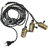 KINGSO E27 Trois Douilles Edison Set Pententif Lustre Suspensions avec Interrupteur d'écairage Dimmable Vintage Antique Rétro Adaptateur de Lampe 110-220V avec Câble à Prise Européenne Laiton Antique