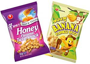 Nongshim Honey Twist Snack, Banana Flavored Snack - Combo Pack (Pack of 2)