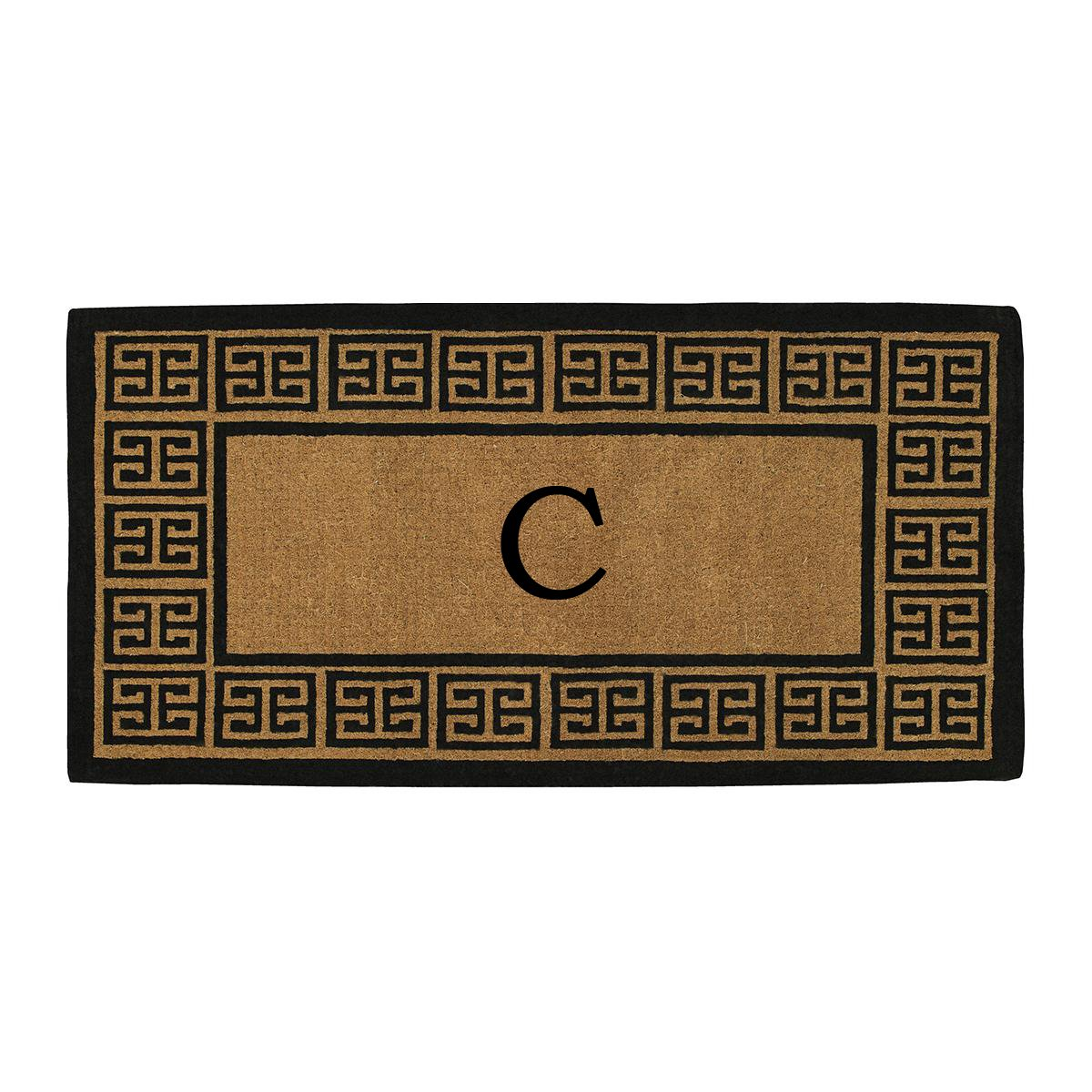 Home & More 180093672C The Grecian Extra-thick Doormat, 36'' x 72'' x 1.50'', Monogrammed Letter C, Natural/Black