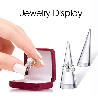 2Sets Clear Acrylic Cone Modern Style Pair Hanging Ring Display Stand