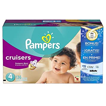ffa5ae31271 Image Unavailable. Image not available for. Color  Pampers Cruisers Baby  Diapers Super Economy Pack Plus Bonus Sample ...