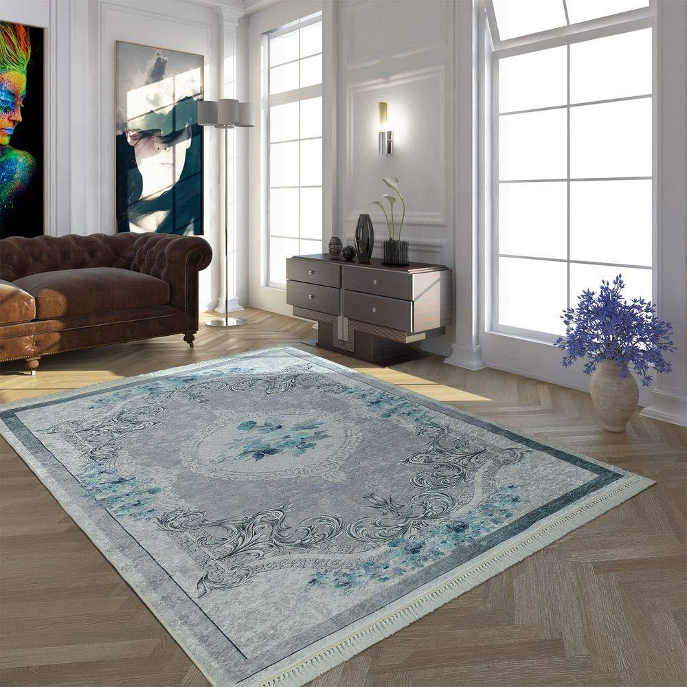 Paco Home Moderner Teppich Mit Bedrucktem Vintage Muster Trend Design Grau Türkis, Grösse 160x230 cm