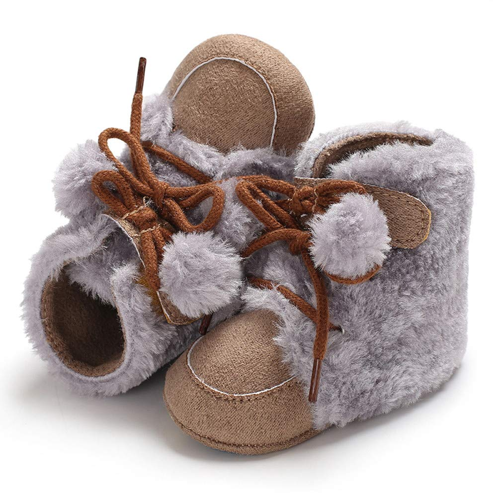 jufengliangyou Toddlen Shoes Baby Girl Boy Fashion Soft Booty Hair Ball Bandage Snow Boots Plush Thick Warm Shoes Solid Color Boots