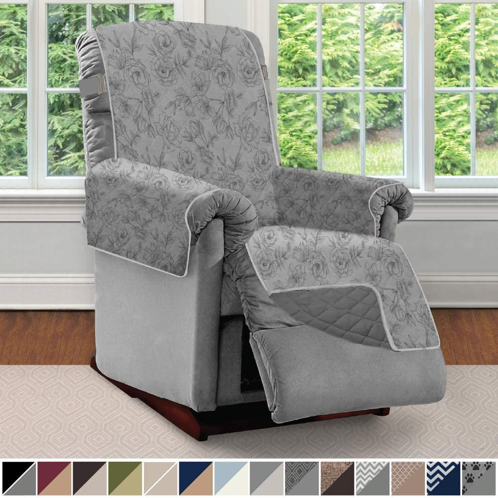 Sofa Shield Original Patent Pending Reversible Recliner Slipcover, 2 Inch Strap Hook Seat Width to 25 Inch Washable Slip Cover Furniture Protector, Small Recliner, Vintage Floral Light Gray Charcoal