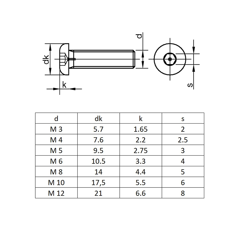 BiBa-Schrauben | Innensechskant ISK rostfreier Edelstahl A2 V2A ISO 7380 Vollgewinde 10 St/ück Linsenschrauben M10x75 | Linsenkopfschraube Flachkopfschrauben