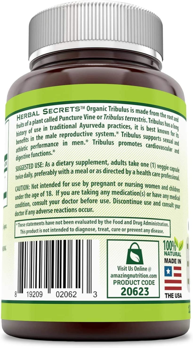 Herbal Secrets Tribulus 630 Mg 120 Veggie Capsules (Non-GMO) - Made with Organic Tribulus- Promotes Men's Reproductive Health, Supports Lean Muscle Mass & Strength Gain, Supports Overall Health*: Health & Personal Care