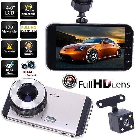 """4/"""" 1080P Dual Lens Rearview Car DVR Camera Video Recorder Dash Cam G-Sensor"""