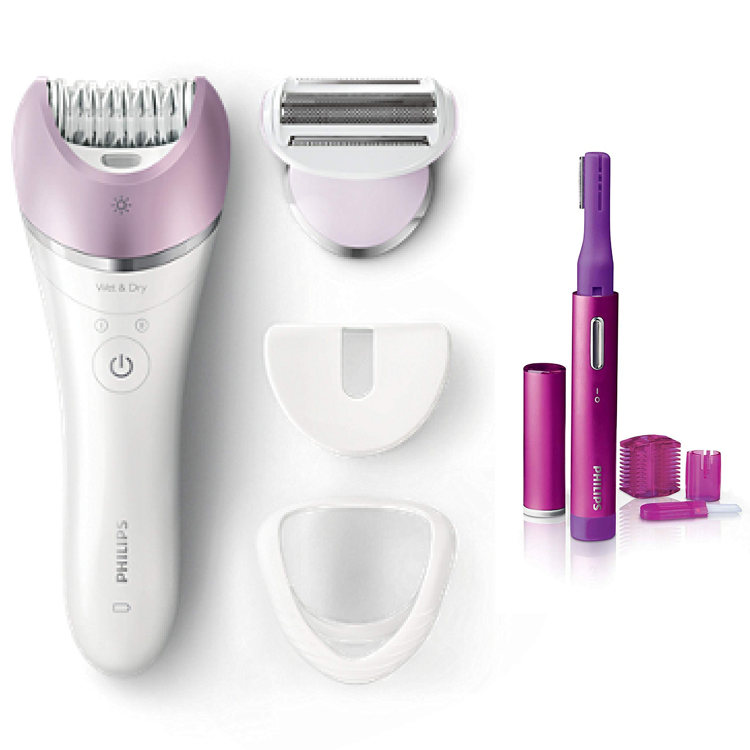 Philips Satinelle Advanced Epilator, Electric Hair Removal, Cordless Wet & Dry Use + Bonus Precision Perfect compact Trimmer for Women, Facial hair & Eyebrows
