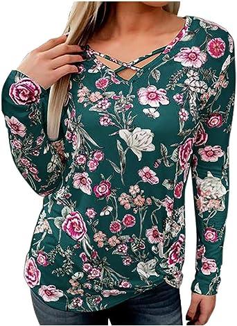 Camiseta Mujer Nudo Flores Blusa Cruzada de Manga Larga con Estampado Floral Cuello Pico Camisas Tunica Verde XXL: Amazon.es: Ropa y accesorios